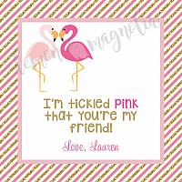 Pink and Gold Flamingo Valentine Square Tag