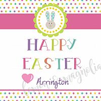 Polka Dot Easter Bunny Personalized Gift Tag