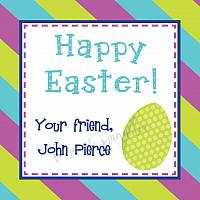 Purple Lime and Aqua Stripe with Egg Personalized Easter Calling Card