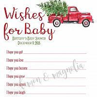 Red Truck Christmas Baby Shower Wish Card
