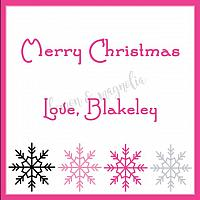 Black, Pink, and Silver Snowflake Personalized Christmas Gift Tag