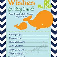 Whale Baby Shower Wish Card