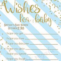 Stripe Baby Wish Cards