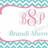 Aqua Chevron with Pink Monogram Personalized Calling Card