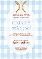 Watercolor Gingham and Baseball Invitation