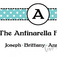 Aqua Dots with Last Initial Calling Card