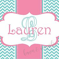 Aqua Chevron with Pink and White Personalized Calling Card