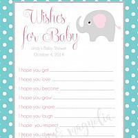 Aqua Polka Dot with Elephant Baby Shower Wish Card