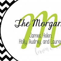 Black and White Chevron with Green Initial Calling Card