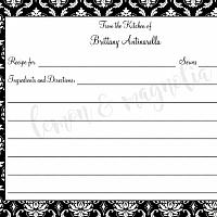 Black Damask Personalized Recipe Card