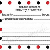 Black and Red Dot Personalized Recipe Cards