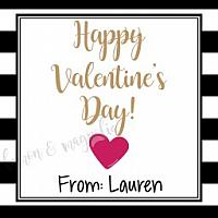 Black and White Stripe Valentine's Day Tag