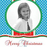 Blue Quatrefoil with Red and Green Personalized Photo Christmas Card