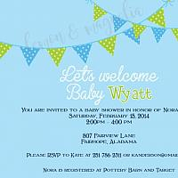 Blue with Pennants Boy Baby Shower Invitation
