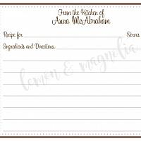 Brown and Pink Polka Dots Personalized Recipe Cards