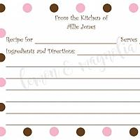 Brown Polka Dots and Pink Polka Dots Personalized Recipe Cards