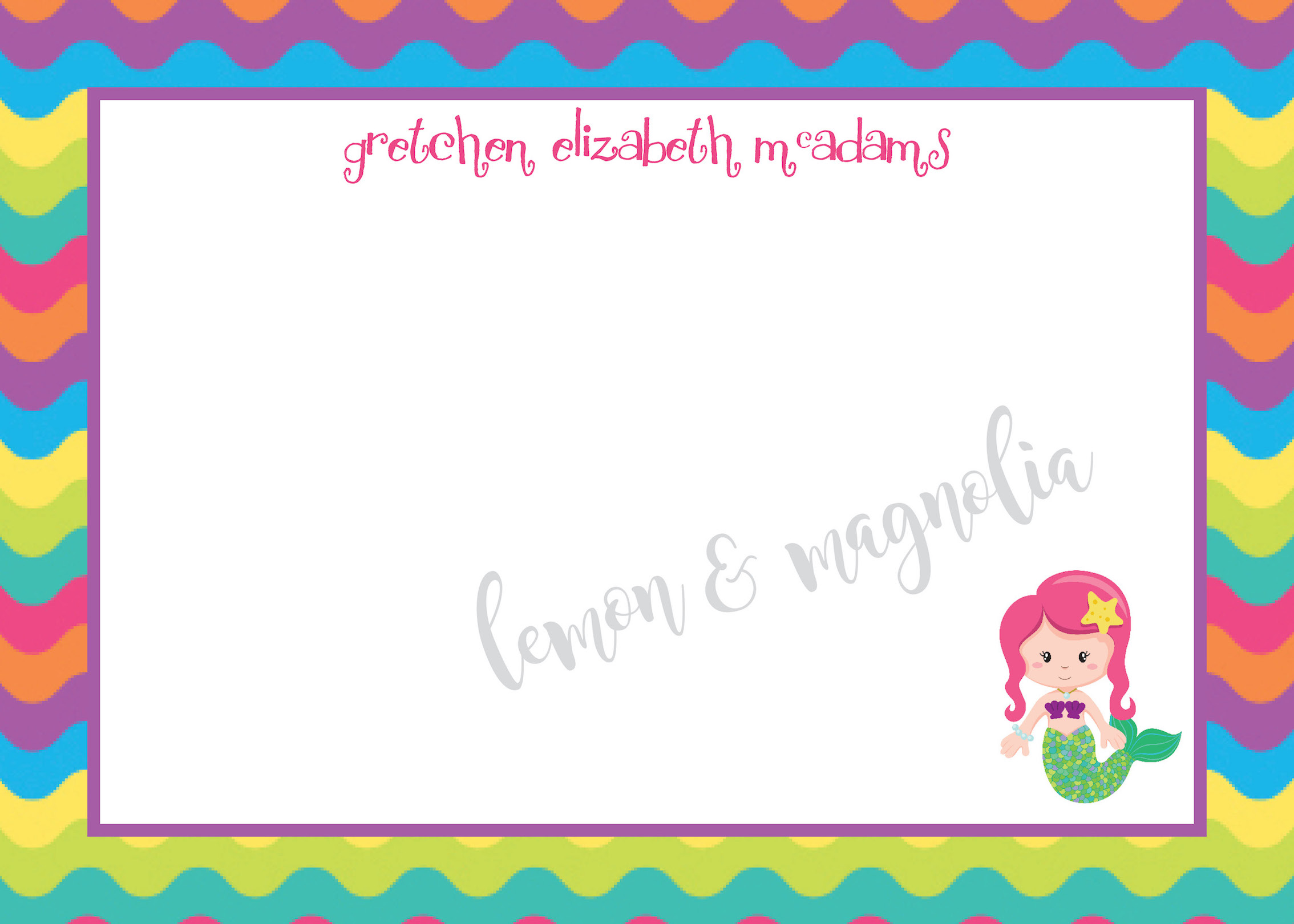 Bright Wave Personalized Mermaid Notecard