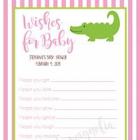 Girl Alligator Baby Shower Wish Card