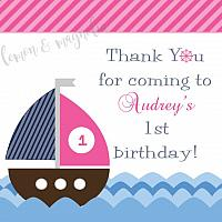 Ahoy Nautical Girls Birthday Favor Tag
