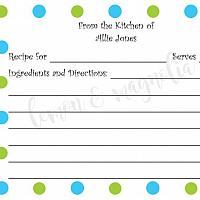 Blue Polka Dots and Green Polka Dots Personalized Recipe Cards