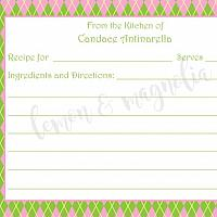 Pink and Green Argyle Personalized Recipe Card