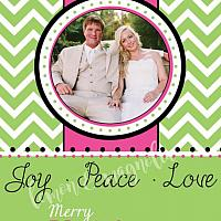 Green Chevron with Pink Stripe Personalized Photo Christmas Card