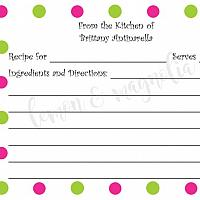 Lime and Pink Dots Personalized Recipe Card