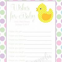 Pastel Polka Dot and Yellow Duck Baby Shower Wish Card