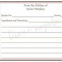 Pink and Brown Border Personalized Recipe Card
