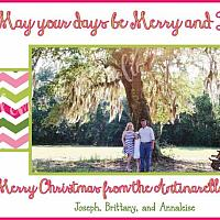 Chevron Stripe Personalized Photo Christmas Card