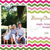 Chevron Top and Bottom Personalized Photo Christmas Card