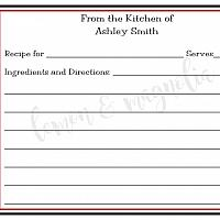 Red and Black Personalized Recipe Card
